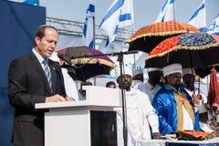 Sigd - An Ethiopian Jews Holyday. JERUSALEM - OCT 31: Nir Barkat, Mayor of Jerusalem speaks at the Sigd Celebration - Oct. 31, 2013 in Jerusalem, Israel. The Stock Photo