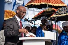 Sigd - An Ethiopian Jews Holyday. JERUSALEM - OCT 31: Shimon Solomon, Member of the Knesset speaks at the Sigd Celebration - Oct. 31, 2013 in Jerusalem, Israel Stock Images