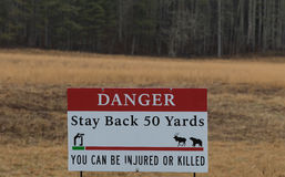 Sigh Danger, Stay Back 50 Yards, You can be Injured or Killed. Sigh, Danger, Stay Back 50 Yards, You can be Injured or Killed, Cataloochee Valley, Great Smoky Royalty Free Stock Image