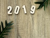 Sigh het Gelukkige nieuwe jaar 2019 van het symboolaantal royalty-vrije stock afbeeldingen