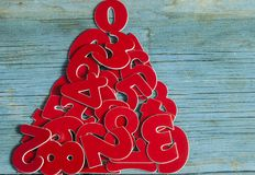 Sigh symbol Christmas tree from many random numbers. On old retro vintage style wooden texture background Royalty Free Stock Image