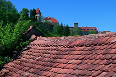 Sighisoara城堡地平线 库存照片