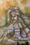 SIGHISOARA, TRANSYLVANIA/ROMANIA - 9月17日:在wa的壁画 免版税库存图片