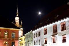 Sighisoara τή νύχτα Στοκ Φωτογραφία