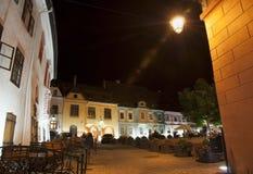 夜场面在Sighisoara,罗马尼亚 图库摄影