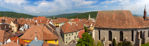 Sighisoara - Aerial view of the old city Stock Images
