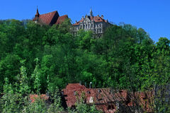 Sighisoara citadel skyline stock photo