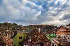 Sighisoara, Clock Tower, saxon landmark of Transylvania in Roman Stock Photography