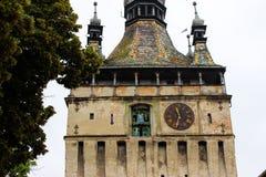 SIghisoara för Klocka torn detalj fotografering för bildbyråer