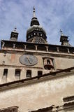 Sighisoara high tower. High tower with clock in Transylvania, Romania Royalty Free Stock Photography