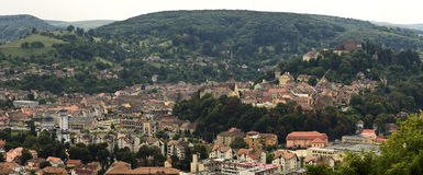 Sighisoara from a hilltop. A panoramic view of Sighisoara from one of the hilltops surrounding it Royalty Free Stock Image