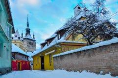 Sighisoara im Winter Lizenzfreie Stockfotografie