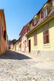 Sighisoara kleurrijke middeleeuwse gebouwen royalty-vrije stock foto