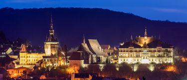 Sighisoara, la nuit Photo libre de droits