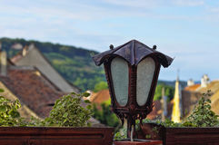 Sighisoara - light lamp in the street of old city Royalty Free Stock Photography