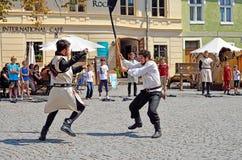Sighisoara medeltida festival Royaltyfri Bild