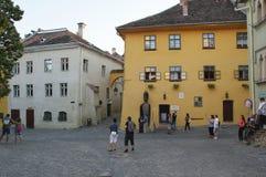 Sighisoara medeltida stärkt stad i Transylvania Arkivfoton