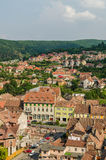 Sighisoara Medieval Fortress Aerial View Stock Photo