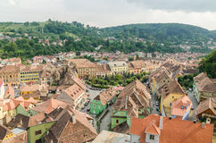 Sighisoara Medieval Fortress Aerial View Royalty Free Stock Photo