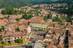Sighisoara Medieval Fortress Aerial View Stock Photography