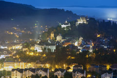 Sighisoara medieval town. night cityscape Royalty Free Stock Photo