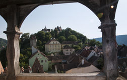 Sighisoara medieval town. View of Sighisoara medieval town in a sunny day. Photo taken from clock tower Royalty Free Stock Images