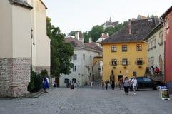 Sighisoara, mittelalterliche verstärkte Stadt in Siebenbürgen lizenzfreies stockfoto