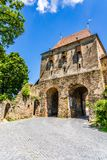 The Tailors Tower in Sighisoara, Mures County, Transylvania, Romania stock photography