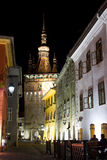 Sighisoara by night. Nightview  of Sighisoara , on full moon Stock Photo
