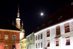 Sighisoara by night. Nightview  of Sighisoara , on full moon Stock Photography