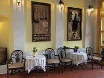 Sighisoara, Roemenië, 24 juni 2016: Het binnenland van het pensioenrestaurant van de Middeleeuwse Stad Sighisoara in Roemenië Royalty-vrije Stock Afbeeldingen