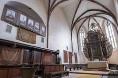 Wide interior view of the Church of the Dominican Monastery in Sighisoara royalty free stock image