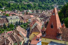 Aerial view of old town Sighisoara, Romania Royalty Free Stock Image