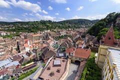 Aerial view of old town Sighisoara, Romania Stock Photos