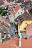 Aerial view of old town Sighisoara, Romania Royalty Free Stock Photography