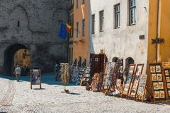 Walking around the historic town Sighisoara. City in which was born Vlad Tepes, Dracula Stock Image