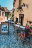 Walking around the historic town Sighisoara. City in which was born Vlad Tepes, Dracula Royalty Free Stock Image