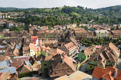 Sighisoara rooftops. The view of Sighisoara rooftops from the old city clock tower Stock Photo