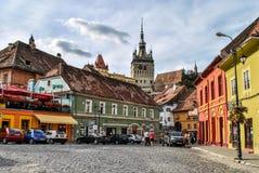 Sighisoara Rumunia, Czerwiec, - 15, 2011: Widok Zegarowy wierza w Sighisoara, Transylvania, Rumunia fotografia royalty free