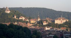 Sighisoara Schaessburg. Sighisoara the habited medieval town in Romania Stock Images