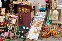 Sighisoara souvenirs shop. Different souvenirs in a street shop in Sighisoara Romania Stock Photo