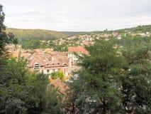 Sighisoara-Stadt, wie von der Zitadelle gesehen Lizenzfreie Stockfotos