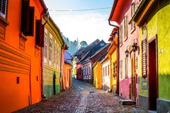 Sighisoara, Transylvania, Romania. Medieval street view in Sighisoara ,Romania Royalty Free Stock Photography