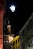 Sighisoara vid natt Arkivfoton