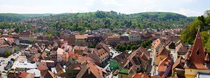 Sighisoara - vue aérienne de la vieille ville photographie stock