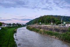 Sighisoara Węgry, Maj, - 17, 2019: widok stary miasteczko w wieczór zdjęcie stock