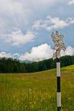 Sighn on touristic mountains stock image
