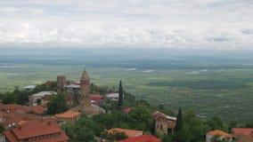 Sighnaghi, Geórgia Uma ideia de cima da paisagem da cidade filme