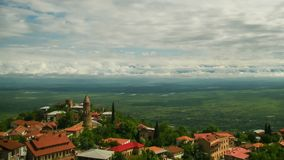 Sighnaghi, Georgia Взгляд сверху ландшафта города Промежуток времени акции видеоматериалы