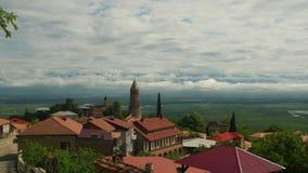 Sighnaghi, Georgia Панорамный взгляд на ландшафте города Timelapse акции видеоматериалы